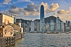 Hong Kong Harbour (Joe Ng's Photography) Tags: china city travel blue sea sky urban building tourism home water skyline clouds port buildings hongkong harbor office asia cityscape apartment harbour outdoor ripple panoramic corporation business wharf residence hdr highdynamicrange condominium offices finance dwelling