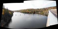 Madawaska River panorama : Autostitch (chasdobie) Tags: bridge autostitch panorama ontario canada nikon autumncolours autumncolors burnstown madawaskariver renfrewcounty