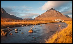 River Etive (Visible Landscape) Tags: uk bridge sky sun motion mountains colour water yellow sunrise river landscape photography golden scotland highlands intense stream colours glen glencoe visible moor etive rannoch colourfull buachailleetivemor kingshousehotel stobdearg a82 visiblelandscape