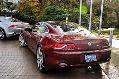Fisker Karma (Dylan King Photography) Tags: road red canada black wet rain vancouver silver nikon bc side rear wheels stock gray columbia front british karma rims ever rolling tracking drving d90 fisker fiskerofvancouver