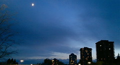 BLUE HOUR MOON (ikan1711) Tags: autumn sky moon fall buildings evening bluesky bluehour eveningsky highrises fallscenes autumndays autumnscenes lougheedburnabybc bluehourmoon wateryhalfmoon
