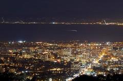 Oakland October Evening (Eric Dugan) Tags: california nightphotography oakland downtown sfo slowshutter sanfranciscobay lighttrails sanfranciscointernationalairport planetrails