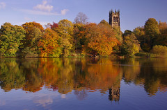Autumn Colours at Lymm Dam (Chris Beesley) Tags: autumn red orange yellow reflections day colours cheshire sunny bluesky stmaryschurch lymm lymmdam