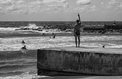 Instruction (Julie Byrnes) Tags: blackandwhite beach photography blackwhite interesting noiretblanc candid streetphotography australia explore deewhy streetimages beachproject juliebyrnes