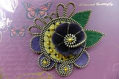 My Fantasy Flower (MsLolaCreates) Tags: flower thread leaves yellow beads pin purple embroidery brooch felt velvet fantasy zipper millenery mslolacreates