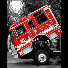 Lucky 13 (Oh Kaye) Tags: firetruck wheeled selectivecolor nohorizon odc1 tp355