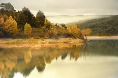 Doble de otoño (Inmacor) Tags: autumn lake fall water reflections landscape lago agua paisaje explore reflejo otoño nublado calma silencio cuenca embalse impressedbeauty ltytr2 ltytr1 ltytr3 latoba inmacor