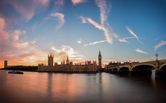 Big Ben Sunset Panorama (paulwynn-mackenzie.co.uk) Tags: city uk bridge sunset england sun colour london water beautiful westminster thames clouds photoshop reflections river landscape golden boat amazing movement colorful pretty cityscape pano sony capital housesofparliament parliament bigben a33 explore colourful slt goldenhour westminsterbridge panoromic