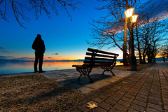 Sunset bench (Nick-K (Nikos Koutoulas)) Tags: sunset lake silhouette bench greece waterscape  kastoria      mavrochori