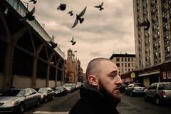 Washington Heights (Jonathan Kos-Read) Tags: blue newyork birds clouds beard cloudy manhattan pigeons profile grain mtv choice grainy shavedhead parkedcars washingtonheights crossingthestreet polaroidfilter filmfilter iceboxcool tamronspaf28105mmf28
