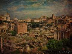 Rome,The Eternal City (amalia lam) Tags: city sky people italy rome roma colors architecture clouds photoshop canon photography ancient travels ruins holidays europa europe italia photos roman forum cities statues textures trips capitale monuments colori vacations antico eternal lazio ancientrome texturized eternalcity captital amalialampri amalialam