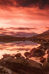 Llynnau Mymbyr (Explored) (Esox2402) Tags: sunset sky snow mountains water wales clouds canon reflections landscape countryside scenery rocks photos lakes 550d
