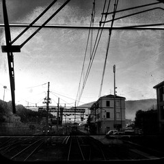 train station (SS) Tags: camera morning light apple monochrome composition train square tivoli 4 commuter stazione iphone iphoneography ss
