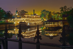 Skyglow Over the Rivers of America (Todd Hurley (Todd_H)) Tags: reflection mirror orlando florida riverboat fl waltdisneyworld themepark magickingdom tomsawyerisland libertybelle riversofamerica toddhurleyphotography