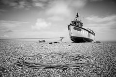 Beached [explored] (ShrubMonkey (Julian Heritage)) Tags: dungenessestate dungeness boat beach nautical fishingboat rope shingle coast coastal bw mono a7r beached