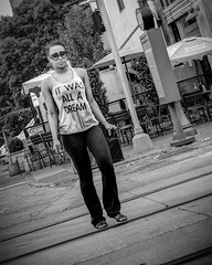 It Was All a Dream (Ben at St. Louis Energized) Tags: stl stlouis delmarloop universitycity street pedestrian shirt city urban blackandwhite monochrome