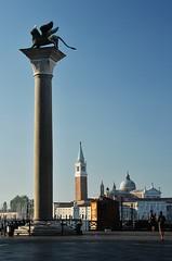 Venice dawn (sonofwalrus) Tags: venice italy italia venezia europe canon eos7d slr lion column chiesadisangiorgiomaggiore wings wingedlion sculpture statue dawn