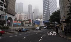 (Oz Wrigley-Pimley-McKerr) Tags: hongkong hksar china 2016 olympus epm2 asia traffic car bus smog fog cloud skyscraper taxi