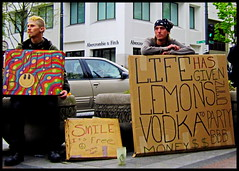lemons (D G H) Tags: daveheston downtown seattle people male panhandler sidewalk streetphotography sign vodka smoke cigarette summer dgh