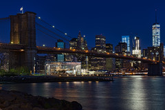 Blues on the Bridge (Bob90901) Tags: blues bridge bluehour brooklynbridge newyorkcity spring manhattan 2016 april waterfront eastriver architecture rpg90901 brooklynbridgepark empirefultonferrystatepark oneworldtradecenter janescarousel outdoor longexposure water skyline buildings skyscraper canon 6d canonef2470mmf28liiusm city cityscape