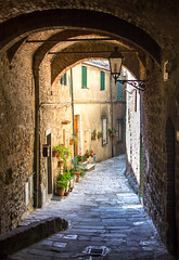 Charming Tuscan Village (B.B.H.70) Tags: tuscan tuscany village pueblo toscana italia italy passageway banco bench flowers flores turism holidays vacaciones romantic getaway
