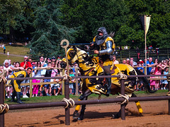 Warwick Castle (David Fergus, Photographer) Tags: warwickcastle warwick castle fortification medieval pageant jousting joust horse shield sword fight river knight fujix10 fuji davidfergus copyrite