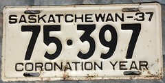 SASKATCHEWAN 1937 ---CORONATION YEAR 5 DIGIT LICENSE PLATE (woody1778a) Tags: 1937 saskatchewan licenseplate numberplate mycollection myhobby canada