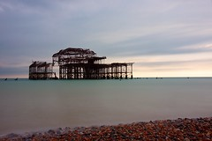 West Pier (Sarah Marston) Tags: westpier brighton eastsussex seaside longexposure september 2016 sony alpha a65 pebbles sea water clouds