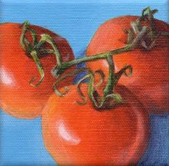 Summer Gathering (DShirleyArt) Tags: summer stilllife art painting tomato acrylic foodart smallpainting kitchenart vastteam indiejteam findingfineart hmet