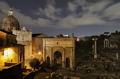 Rome - Roman Forum by night - Arch of Septimius Severus, 203 CE. (edk7) Tags: italy rome roma building art architecture night ancient italia ruin engineering nighttime 2008 romanforum lazio triumphal commemoration d300 archofseptimiusseverus arcodisettimiosevero ad203 edk7 commemorateparthianvictories