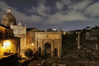 Rome - Roman Forum by night - Arch of Septimius Severus, 203 CE.