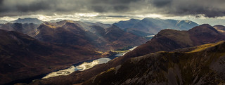 Loch Leven sun burst from The Ring of Steall