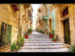 The narrow streets of Valetta (scrabble.) Tags: street houses architecture stairs island town village pavement traditional malta medieval historic maltese valetta