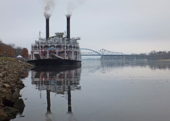 Queen For The Day (DewCon) Tags: bridges mississippiriver riverboat americanqueen