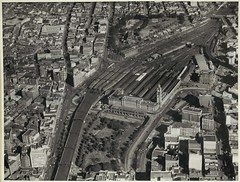 Aerial view of Central Railway Station, Sydney (NSW) (State Records NSW) Tags: blackandwhite aerial archives newsouthwales centralrailwaystation staterecordsnsw srnsw:series=17420 toweris1921