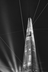 Inauguration (Giles McGarry (formerly kantryla)) Tags: uk blackandwhite london skyscraper laser highlycommended takeaview theshard inaugurationnight lpoty urbancategory landscapephotographeroftheyearcompetition