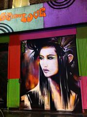 Brick Lane Geisha (Dan Kitchener - DANK) Tags: street streetart vintage graffiti tokyo clothing east e1 dank eastlondon vintageclothing londongraffiti tokyoneon dankitchener