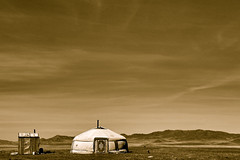 Into the great wide open (... Arjun) Tags: door travel wild camp chimney sky panorama mountain monochrome sepia contrast landscape 50mm iso100 skies song dramatic panoramic tent mongolia yurt silkroad fullframe drama f11 gobi 2012 ger tompetty govi intothegreatwideopen songtitle dirttracks canonef24105mmf4lis bluelist tompettytheheartbreakers  canoneos5dmarkii southmongolia  canon5dmarkii