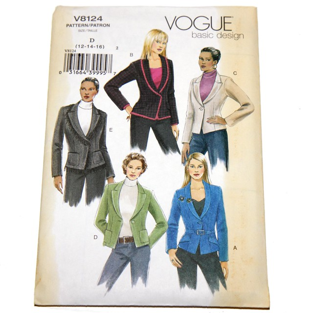 Vogue vintage sewing pattern V8124 – jacket – size 12,14,16