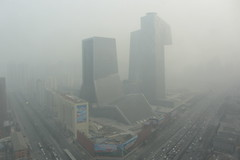 The day after tomorrrow (China Chas) Tags: china mist toxic fog grey smog dangerous haze beijing cctv pollution environment  harmful airpollution chaoyang thirdring  aqi 2013 tvcc pm25 sx230
