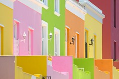 Bo-Kaap, The Cape Malay Quarter, Cape Town (5ERG10) Tags: africa pink houses windows summer orange white green lamp sergio yellow wall architecture southafrica daylight gate holidays warm december pattern colours purple bright zoom geometry perspective vivid sunny capetown telephoto porch walls lantern colourful neighbourhood slaves signalhill vagrant township compressed kaapstad uplifting freed sudafrica bokaap malayquarter cittadelcapo amiti 5erg10
