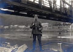 Hastire Belgium / 45th Infanterie Brigade ( drakegoodman ) Tags: bridge portrait river soldier postcard rifle pipe moustache worldwarone ww1 greatwar firstworldwar meuse worldwar1 germanarmy germansoldier rppc infantryman landsturm feldpost gew88 wachstuchmtze