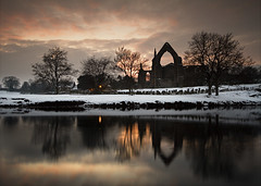 Bolton Abbey Yorkshire (mrcheeky2009) Tags: sunset snow cold abbey reflections river landscape ruins moody yorkshire boltonabbey