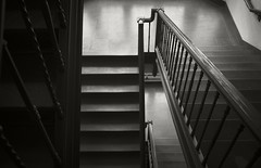 Skinner Stairs 13 (frntprchprss) Tags: blackandwhite reflection stairs mountholyokecollege skinnerhall blackwhitephotos fixedshadows jamesgehrt