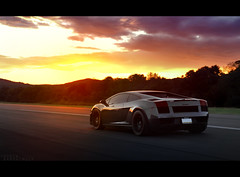 Sunset on the airstrip. (Andrew Barshinger Photography) Tags: lambo lamborghini gallardo lp570 car supercar forgestar canon sunset epic aitstrip wow awesome sky clouds exotic carbon fiber v10