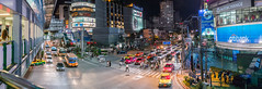 Panorama shot from Skywalk (juhududa) Tags: bangkok thailand traffic public transport night evening colorful samsung nx300 skytrain mrt asia asok asoke sukhumvit terminal 21 terminal21 bts