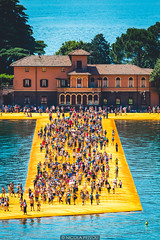Straight to San Paolo (Nicola Pezzoli) Tags: floating piers lake iseo brescia bergamo blue yellow colors nature canon lombardia italy monte isola sulzano island art design mountain water reflections tourism people san paolo