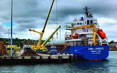 Scotland West Highlands Kintyre a cargo ship called Emma Janneke being unloaded at Campbeltown 3 July 2016 by Anne MacKay (Anne MacKay images of interest & wonder) Tags: scotland west highlands cargo ship emma janneke unloaded campbeltown dock docks crane cranes sea harbour xs1 3 july 2016 picture by anne mackay kintyre
