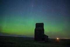 The Green Night (gerrypocha) Tags: aurora grain elevator dark abandoned derelict town night sky