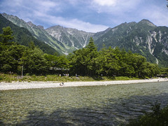 Azusagawa river, Mt.Hotaka and Mt.Myojindake. (mega_midget_racer) Tags:   mountain  trekking nature outdoor water sky tre trees forest